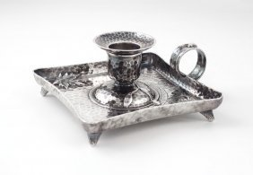 TIFFANY & CO. HAMMERED STERLING CANDLE STAND