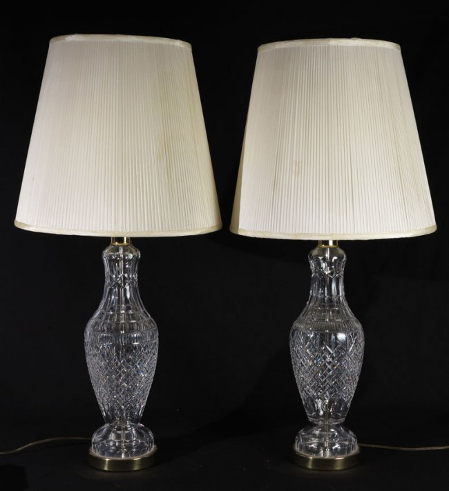 Salt Lamps Waterford : 480A: PAIR WATERFORD CRYSTAL TABLE LAMPS : Lot 480A