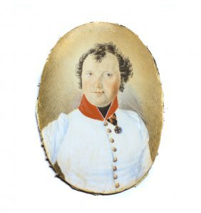 FRENCH MILITARY PORTRAIT PAINTING OF AN OFFICER