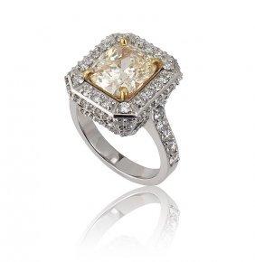 3.03CT YELLOW DIAMOND RING W/ 1.31 DIAMONDS