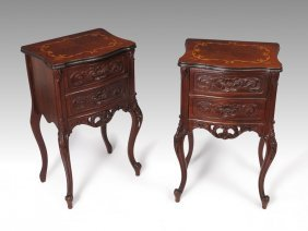 PAIR FRENCH 2 DRAWER STANDS