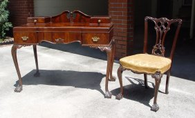 MAHOGANY CHIPPENDALE STYLE DESK AND CHAIR