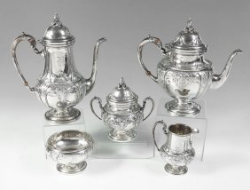 5 PIECE WHITING HAND CHASED STERLING TEA SERVICE