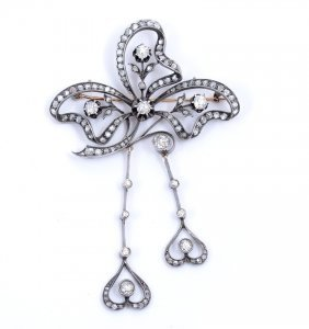 RUSSIAN STERLING & GOLD DIAMOND BROOCH 3.89 Ctw OLD