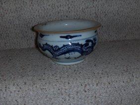 Chinese Kangxi Blue And White Incense Burner.
