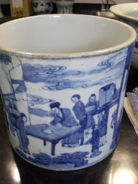 Chinese Qing Dynasty Blue And White Kangxi Brush Pot