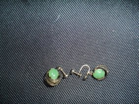 Pair Of Chinese Jadeite Earring. Antique