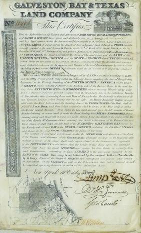 Manuscript Of Galveston Bay And Texas Land Co.