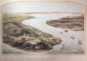 Bornet, Panorama Of The Harbor Of New York, 1854