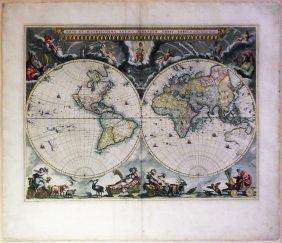 Bleau Double-Hemisphere World Map with Seasonal