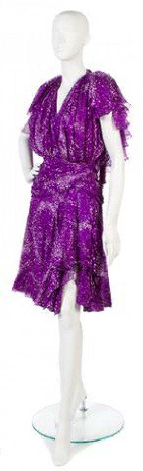 A Jacqueline De Ribes Purple Silk Chiffon Cocktail