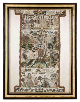 A English Stumpwork Panel, Height 25 3/8 Inches X Wi