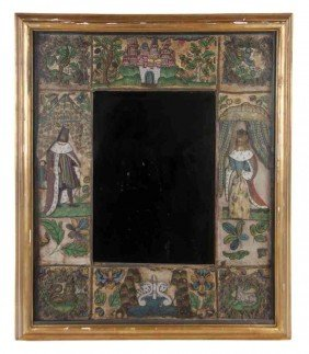 A Charles II Stumpwork And Beadwork Framed Mirror, H