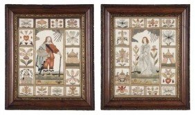 A Pair Of English Needlework Pictures, Height 10 X