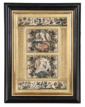 An English Framed Needlework Picture, Height 21 X W