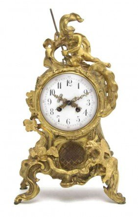 A French Gilt Bronze Mantel Clock, Height 15 1/2 I