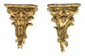 A Pair Of Louis XV Style Giltwood Brackets, Height