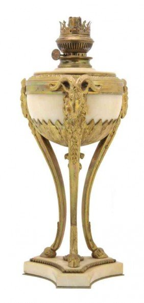 A Louis XVI Style Gilt Bronze Marble Oil Lamp, Hei