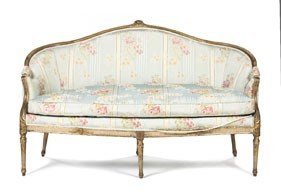 A Louis XVI Style Giltwood Settee, Height 36 X Wid