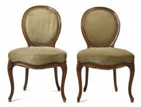 A Pair Of Louis XVI Style Side Chairs, Height 38 3