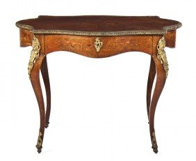 A Louis XVI Style Marquetry And Gilt Metal Mounte