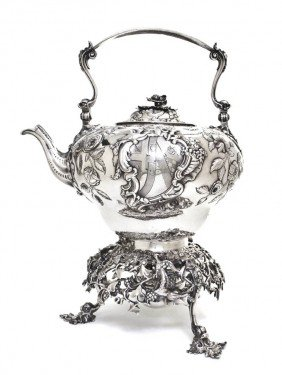 An English Silver Hot Water Kettle On Stand, Rober