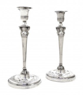 A Pair Of French Silver Candlesticks, Jean-Pierre