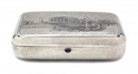 A Russian Niello Silver Cigarette Case, Width 4 1