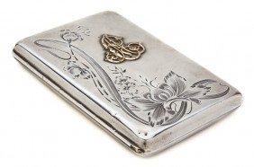 A Russian Silver Cigarette Case, Width 4 Inches.