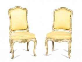 A Pair Of Louis XV Style Painted Side Chairs, Hei