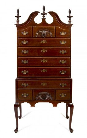 A Mahogany Chippendale Style High Chest Of Drawe