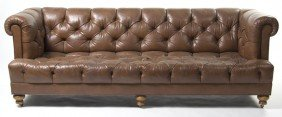 A Leather Upholstered Sofa, Height 29 X Width 82