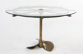 A Brass Ship Wheel Kitchen Table, Diameter 51 Inc