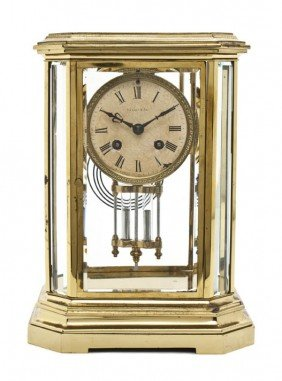 An American Brass And Glass Carriage Clock, Tiffany