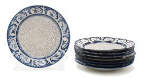 A Collection Of Eight Dedham Pottery Plates, Diamete
