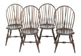 A Set Of Four American Windsor Side Chairs, Height