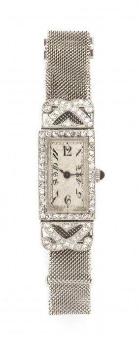 An Art Deco Platinum And Diamond Mechanical Wristwa