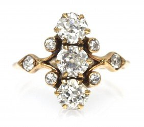 An Edwardian Yellow Gold And Diamond Ring, 1.60 Dwt