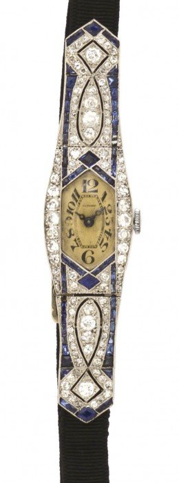 An Art Deco Platinum, Diamond And Sapphire Wristwat