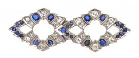 An Edwardian Platinum, Diamond And Sapphire Brooch