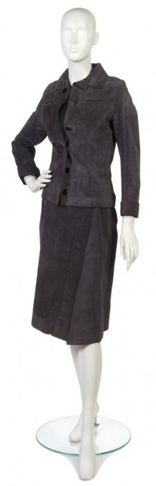 A Gucci Grey Suede Skirt Suit.