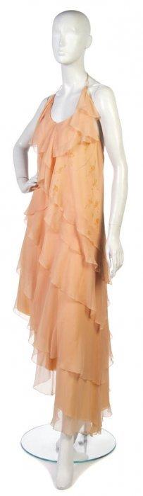 A Chloe Peach Silk Chiffon Two Piece Dress.