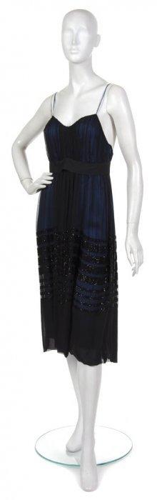 A Chloe Black Silk Chiffon Cocktail Dress. Size 40.