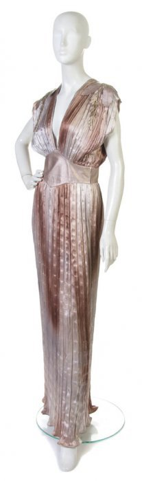 A Roberto Cavalli Pleated Silk And Leather Evening