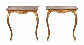 A Pair Of Louis XV Style Giltwood Console Tables, He