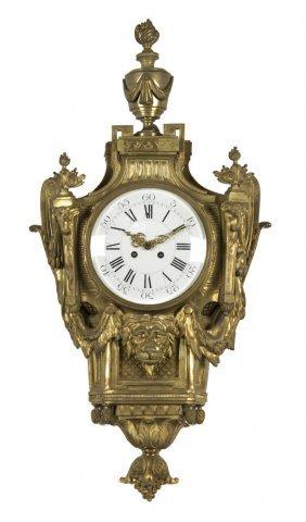 A Louis XV Style Gilt Bronze Cartel Clock, Height 30