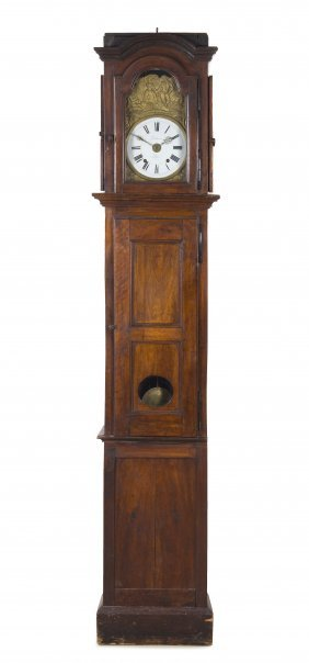 A French Provincial Oak Tall Case Clock, Delaroue A