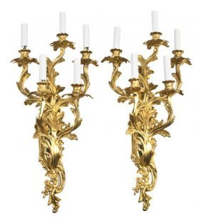 A Pair Of Louis XV Style Gilt Bronze Five-Light Sco