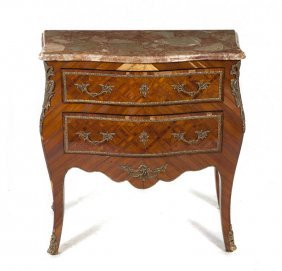 A Louis XV Style Parquetry And Gilt Metal Mounted C