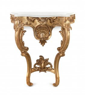 A Louis XV Style Giltwood Console Table, Height 31